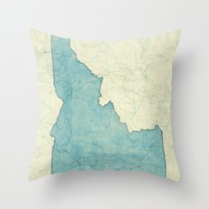 Idaho State Map Blue Vintage Throw Pillow