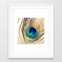 peacock feather Framed Art Prints featuring Peacock Feather  by Laura Ruth