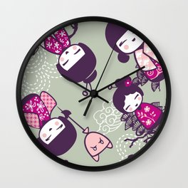Japanese Doll Collection Wall Clock