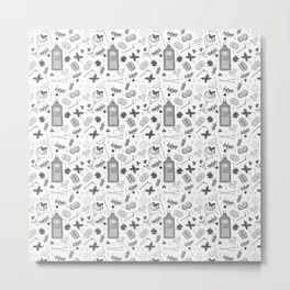 Gin Cocktails Black and White Cocktail Bar Pattern Metal Print