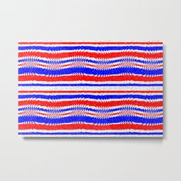 Red White Blue Waving Lines Metal Print