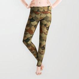 Brown Copper Glamour Mermaid Scale Pattern Leggings