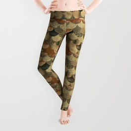 Brown Copper Glamour Mermaid Scale Pattern Leggings