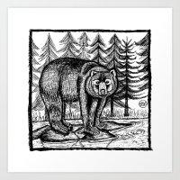 Bear - Black & White Art Print