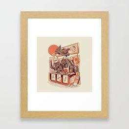 Kaiju street food Framed Art Print