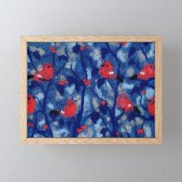 Bullfinches, birds in the trees, fiber art, wool painting Framed Mini Art Print