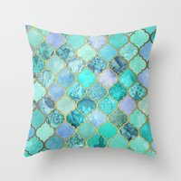 moroccan Throw Pillows featuring Cool Jade & Icy Mint Decorative Moroccan Tile Pattern by micklyn