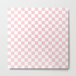 Large White and Light Millennial Pink Pastel Color Checkerboard Metal Print
