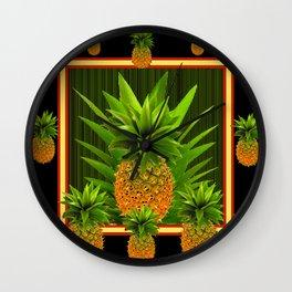 MODERN ART GREEN-BLACK  HAWAIIAN PINEAPPLE ART Wall Clock