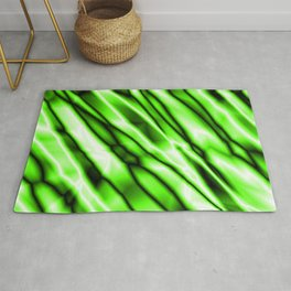 Shiny metal crooked mirror with green reflective diagonal stripes. Rug
