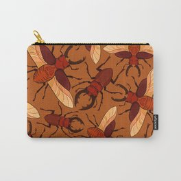 Red Stag Beetle Pattern Carry-All Pouch