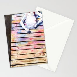 on the jetty, in the sun, her mind was elsewhere Stationery Cards