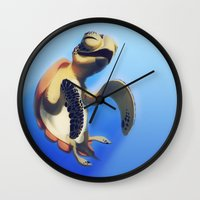 turtle Wall Clocks featuring Turtle by Anya McNaughton