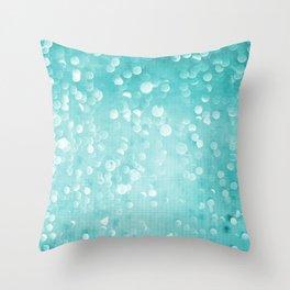 Aqua Bokeh Throw Pillow