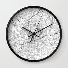 Atlanta White Map Wall Clock