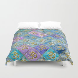 Golden OM symbol on Pastel Watercolor pattern Duvet Cover