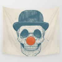 dead Wall Tapestries featuring Dead clown by Balazs Solti