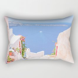 Santorini Greece Mamma Mia Pink Street Rectangular Pillow
