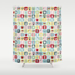 Retro Coffee Pots and Cups Pattern Shower Curtain