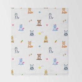 Cute pink blue orange watercolor animal pattern Throw Blanket