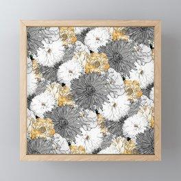 Cute Girly Yellow & Gray Floral Illustration Framed Mini Art Print