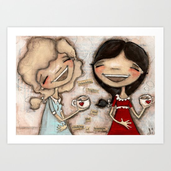 Clinking Teacups Art Print
