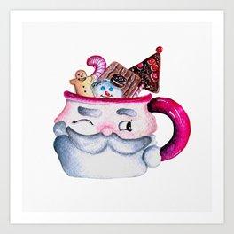 Santa Candy Cup Art Print