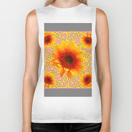 Decorator Sunflower Grey-Coral Color Floral Celtic art Biker Tank