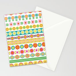 Mod Flower Borders Stationery Cards
