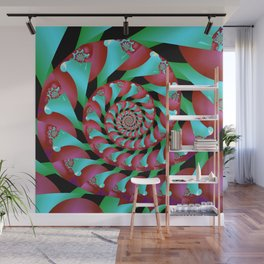 Archimedes' Magenta & Teal Tangent Wall Mural