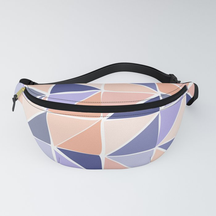 Triangle Geometry in Purple and Coral Fanny Pack