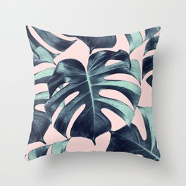 Tropical Monstera Leaves Dream #3 #tropical #decor #art #society6 Throw Pillow