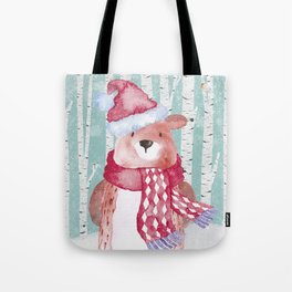 Winter Woodland Friends Cute Bear Snowy Forest Illustration Tote Bag