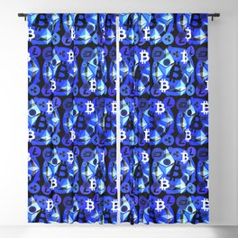 Crypto currency blue pattern Blackout Curtain