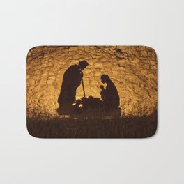 Christmas installation on the theme of the birth of Jesus Christ Bath Mat