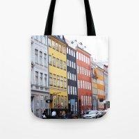 copenhagen Tote Bags featuring Copenhagen by Anya Kubilus
