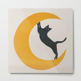 Moon and Cat Metal Print