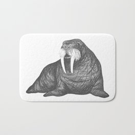 Frank Wallace in White | Walrus Drawing Bath Mat