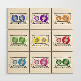Rainbow Cassette Tapes Wood Wall Art