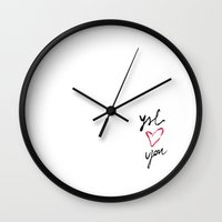 ysl Wall Clocks featuring YSL loves you by cvrcak