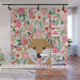 Shiba Inu floral dog face cute peeking shiba inus gifts Wall Mural