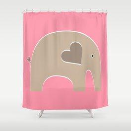 Pink Safari Elephant Shower Curtain