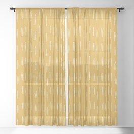 Raindrop Abstract Boho Pattern, Yellow Sheer Curtain