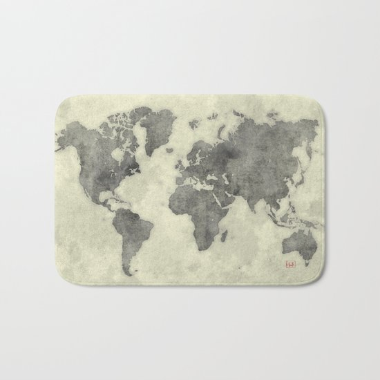 World Map Black Vintage Bath Mat