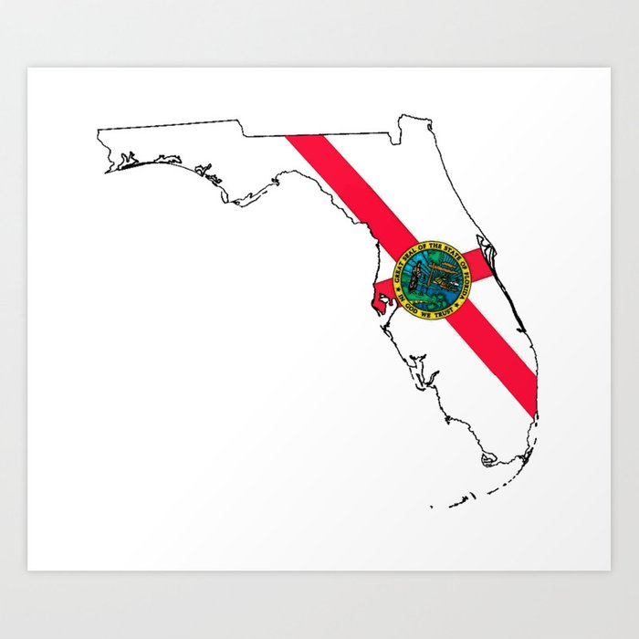 Printable Map Of Florida State.Florida Map With Florida State Flag Art Print By Havocgirl Society6