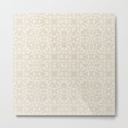 Abstract Vintage Style Cream Linen Pattern Metal Print