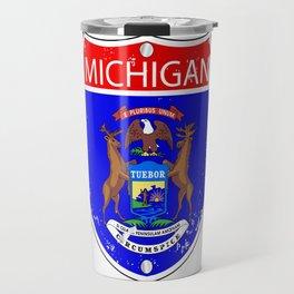 Michigan Flag Icons As Interstate Sign Travel Mug