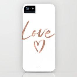 Rose Gold Glam Love Heart Confetti iPhone Case