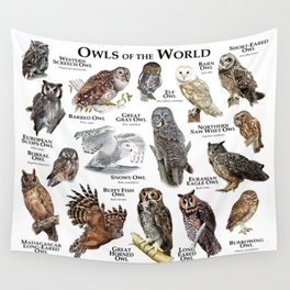 Owls of the World Wall Tapestry