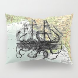 Octopus Attacks Ship on map background Pillow Sham